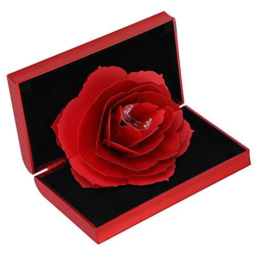 Rose Pop-up Ring Box für Zeremonie, 3D Schmuck Aufbewahrungskoffer Rack Ring Halter für Hochzeit Engagement(rot) -
