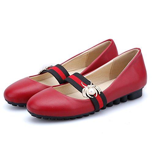Femme Taoffen Rouge Chaussures Talon Fermée Bas QsBhCtdxr