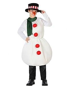 Atosa-32215 Atosa-32215-Disfraz Muñeco Nieve niño Infantil-Talla Navidad, Color Blanco, 10 a 12 años (32215