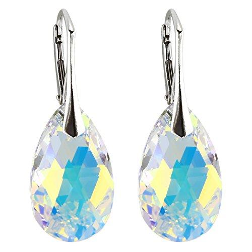 Ohrringe mit Kristallen von Swarovski in geprüfter Qualität von M3Crystal, Nickelfrei Silber 925, Stein Crystal AB Mandel 22mm, Schmuck für Damen Modeschmuck