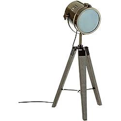 Lampe projecteur design vintage et rétro en métal style cuivre et trépied en bois.