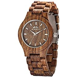 Amexi Brand Wood Watches Unisex Size Rosewood Men's Watches With Japan Quartz Movemnt Analogue Display Round Shape For Sale