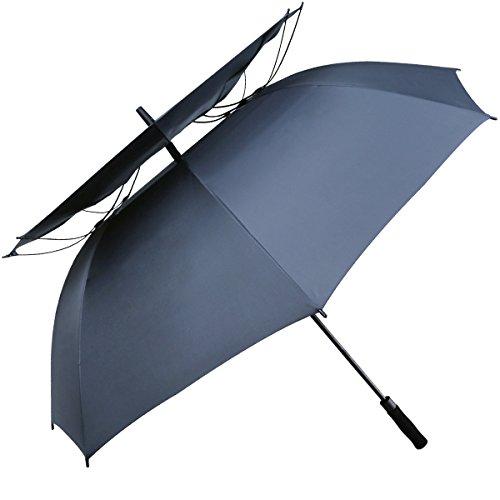 G4Free 62 Inch Automatische Öffnen Golf Umbrella Extra Große Double Canopy Vented Windproof Wasserdichte Stick Regenschirme (Navy Blau) (Golf-stick)