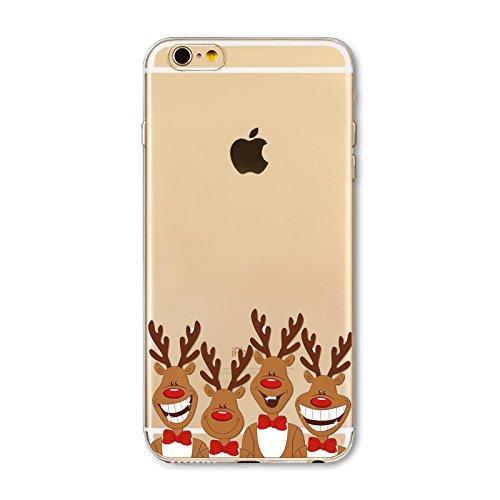 Weihnachten Hülle für iPhone 6 Plus / iPhone 6s Plus MOONMINI Ultra Dünn Weihnachten Dekoration Weiche TPU Silikon Full Body Schutz Rückseite Transparent Schutzhülle Shell für iPhone 6 Plus / iPhone 6 Deer with Bow Tie