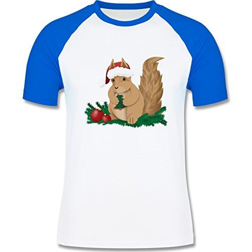 Weihnachten & Silvester - Weihnachten Eichhörnchen - zweifarbiges Baseballshirt für Männer Weiß/Royalblau