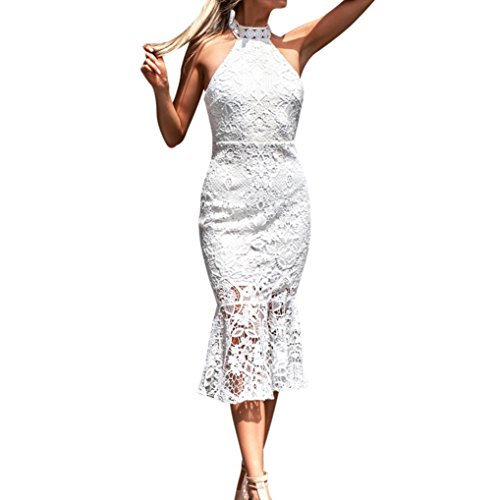 Kleider Damen Elegant LHWY Mode Halter Spitzen Halfter Sommerkleid Neckholder Slim Fit Ärmellos Brautkleid Cocktail Abendkleid Midi Spitze Weiß (S, Weiß) (Kleidung Weiß Halfter Kleid)