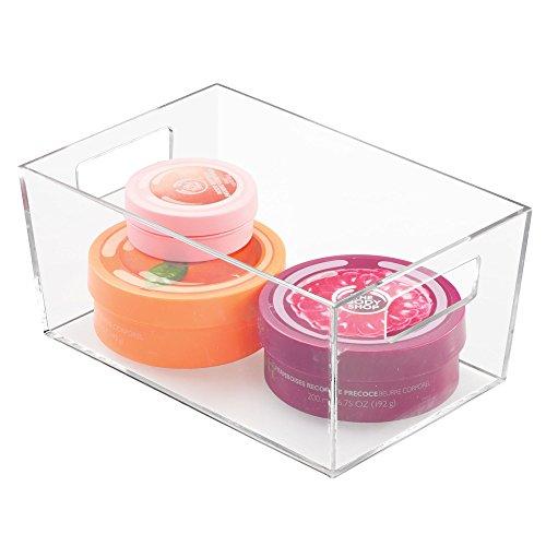 mDesign Caja de plástico con asas – Organizador transparente con diseño atractivo – Cajas organizadoras para accesorios de baño y otros utensilios