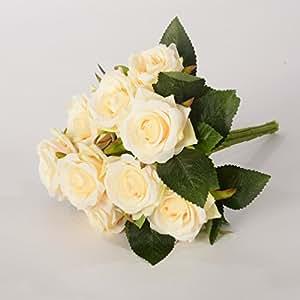 9 teste per decorazione floreale Bouquet Fiore artificiale della Rosa Sposa azienda nozze, Giallo