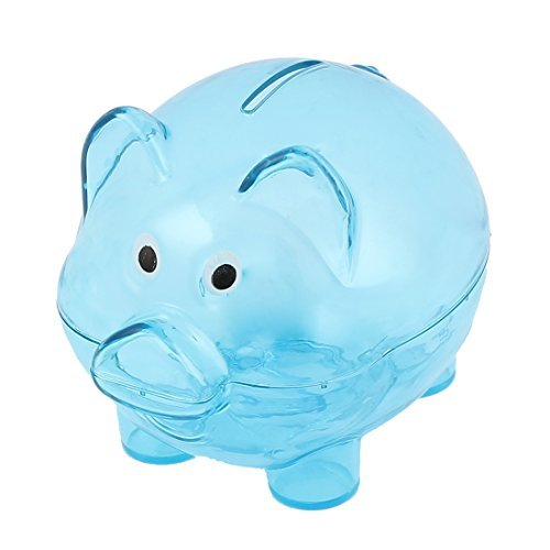 Shape Money Cash Saving Pot Coins Piggy Bank Clear Blue ()