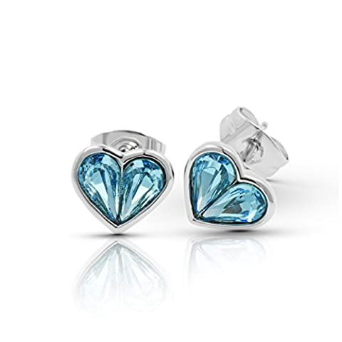 Virtuous Earrings With Swarovski Aquamarine Crystal in 18ct White Gold Finish