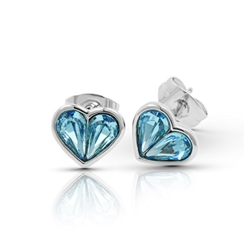 Galaxy Jewellery Swarovski Elements aquamarine Kristall  -Ohrringe 18 Karat vergoldet (Kit Mutter Natur)