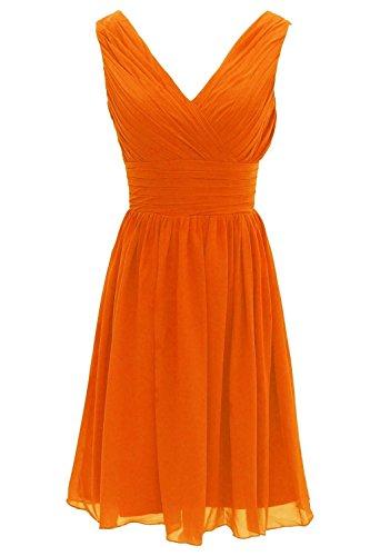 Fanciest Women' V Neck Kurz Brautjungfernkleideres Minze Wedding Party Kleid Orange