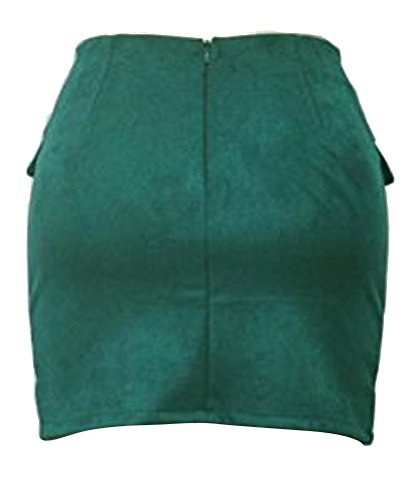 Ghope Jupe Femme en Daim Taille Haute Jupe Sexy Jupe Mini Jupe Crayon Mini Jupe avec Poches et Bandage Vert