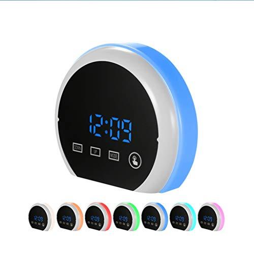 Djgwzlijm\\ Wecker Wake Up Light Dimmable Snooze Sieben-Farben-Hintergrundbeleuchtung Touch Control Temperaturanzeige for Schlafzimmer Kinder Student Tischuhr ( Color : Blue , Size : 13.5*4.5*11.5cm )