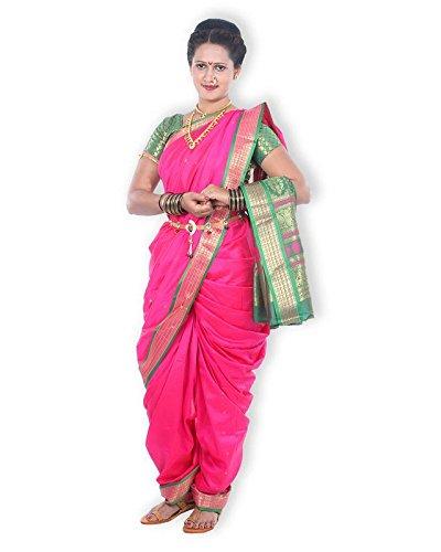Mynauvari's Ready to Wear Stiched 9 Mtrs Kolhapuri Style Dark Pink Semi...