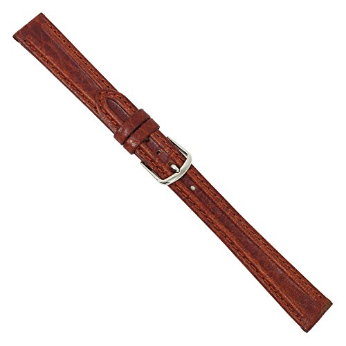 Uhrbanddealer Damen Uhrenarmband 14mm Ersatzband  Nuevo Leder Braun mit feinem Wulst 096514s
