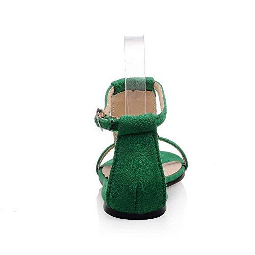 AgooLar Femme Ouverture D'Orteil Non Talon Dépolissement Mosaïque Sandales à Plat Vert