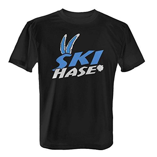Ski Hase - Herren T-Shirt von Fashionalarm | Fun Shirt Spaß Skiurlaub Urlaub Apres Ski Piste Abfahrt Alm Hütte Winter Winterurlaub Wintersport Sport Schwarz