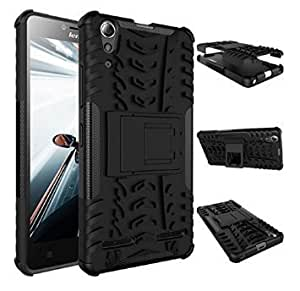 IDEAL Hard Armor Hybrid Rubber Bumper Flip Stand Rugged Back Case Cover For Lenovo A6000 / A6000 Plus-Black