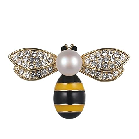 Wowen Brosche Pin Frauen New Fashion Jewelry AAAA Grade 9,5mm Pearl Zirkon Gelb bee Brosche Pin