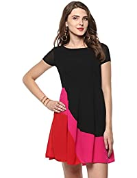 a6d296f8f1e Roving Mode Women's Colorblock Mini Dress, Black
