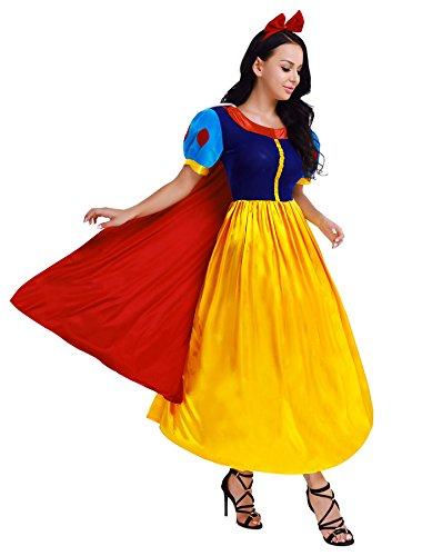 iiniim Femme Princesse Costume Fête Robe Longue avec Hoop Cheveux déguisement Adulte Jaune Bleu M