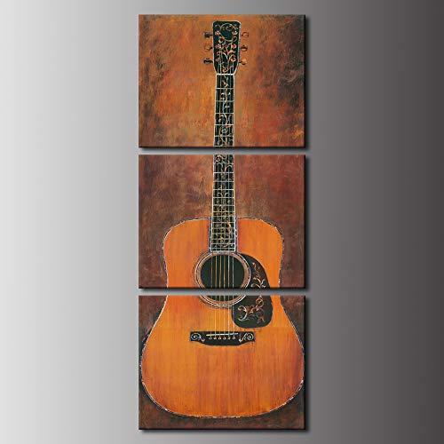 Biuteawal - 3-teiliges Musik-Leinwandbild auf Leinwand, Motiv Gitarre, Vintage-Kunstwerk für Zuhause, Wohnzimmer, Schlafzimmer, Wanddekoration, gerahmt, fertig zum Aufhängen