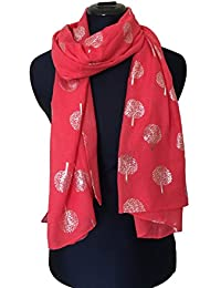 Coral With Silver Foiled Mulberry Tree Design Ladies Fashion Scarves