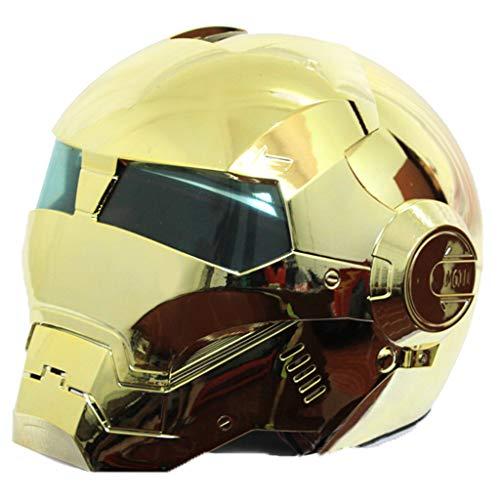 wthfwm Casco Integrale Iron Man Casco apribile Casco Harley Vintage D. Certificato O. T per Adulto,Gold-M
