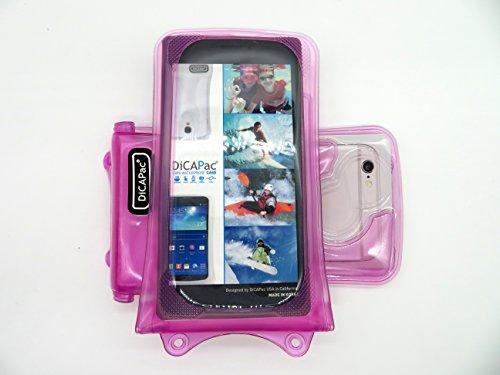 DiCAPac WP-i10 Apple iPhone 3/3G/3S/4/4S/5/5S/5C/6 Wasserdichte Hülle in Blau (Doppel-Klettverschluss, IPX8-Zertifizierung zum Schutz vor Wasser bis 10m Tiefe; integriertes Luftkissen treibt auf dem  Pink