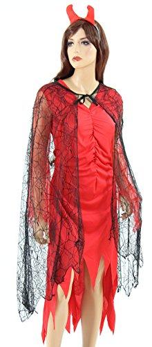 Foxxeo Spinnennetz Cape Hexen Kostüm für Damen schwarzer Teufel Gothic Vampir Umhang Halloween