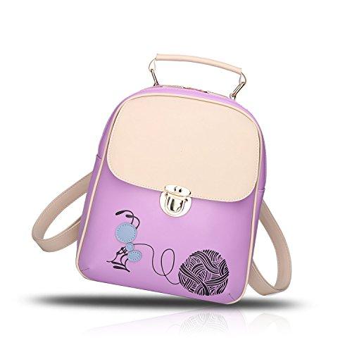 Sunas 2017 nuovi sacchetti svegli dello zaino di corsa del sacchetto dell'allievo del fumetto del sacchetto di spalla delle donne viola