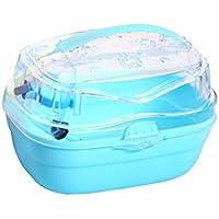 UKCOCO portatile gabbia di criceto, transportadoras per piccoli animali domestici, gabbia di viaggio con esterni a forma di scatola bento per criceto/Coniglio (Blu)