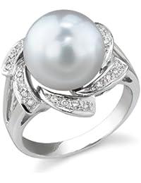11mm White South Sea Cultured Pearl & Diamond Nova Ring in 18K Gold