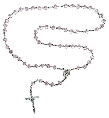 Kaltner Präsente Geschenkidee - Rosenkranz für Damen und Herren mit Kreuz Anhänger Marienbild und Glas Perlen Farbe Pink (Länge 74 cm)