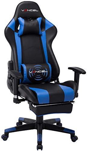 EAVANCEL Gaming Racing Stuhl Computer Schreibtischstuhl Ergonomisches Design mit Breiten Rückenkissen, ausziehbahre Fußlehne und Massagegerät in Taillenbereich einfach mit den PC verknüpfen. (Blau)
