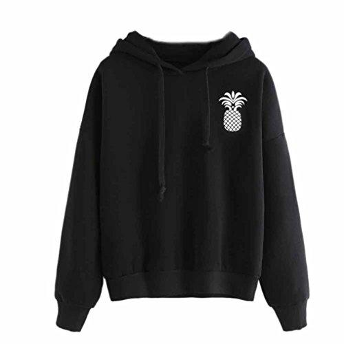 Abstand!!! Refulgence frauen höchstens schwarze kapuzen - pullover und ananas - ausdrucken - sweatshirt tunnelzug (S, Schwarz)