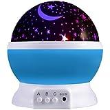 LESHP Lampe d'éclairage d'étoile Lampe LED de nuit projecteur Romantique de lumière Multicolorée de nuit en rotation 360 degrés Lampe de projecteur de ciel avec le câble d'USB Bon Cadeau de chambre d'enfants Bleu