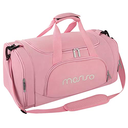 MOSISO Bolsas de Gimnasio Tejido de Poliéster Plegable de Viaje Durante la Noche Duffels Ligero Deportivo Deportes Camping Hombro Bolso para Hombres y Mujeres, Rosa