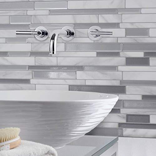 Weiße graue Marmor Mosaik schälen und Stick Wand Fliesen selbstklebende Backsplash Diy Küche Badezimmer Home Wandtattoo