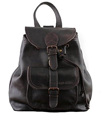 PAUL MARIUS petit sac à dos en cuir couleur Indus' style vintage LE BAROUDEUR, Marron Foncé, S