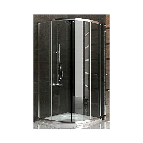 duschabtrennung viertelkreis Echtglas Schiebetür Viertelkreis Duschkabine 90x90 x190 cm mit Nanobeschichtung Duschabtrennung mit Rahmen Dusche Komplett inkl. Glasveredelung Trennwand Duschwand