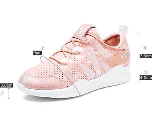 HWF Chaussures femme Été Mesh Sports Femelle Respirant Plat Décontracté Femmes Chaussures Épais Bottom Étudiant Unique Chaussures de Course ( Couleur : Noir , taille : 36 ) Rose