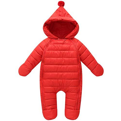 Vine Bambino Tute da neve Inverno Pagliaccetti con cappuccio Un pezzo Outfits, Rosso 6-12 Mesi