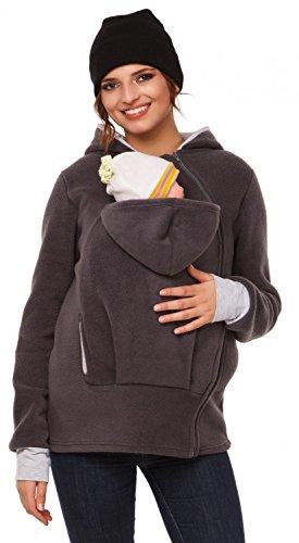 Happy Mama. Donna felpa del portare neonato bambino cappuccio pile tessuto. 032p (Grafite, IT 42/44, M)