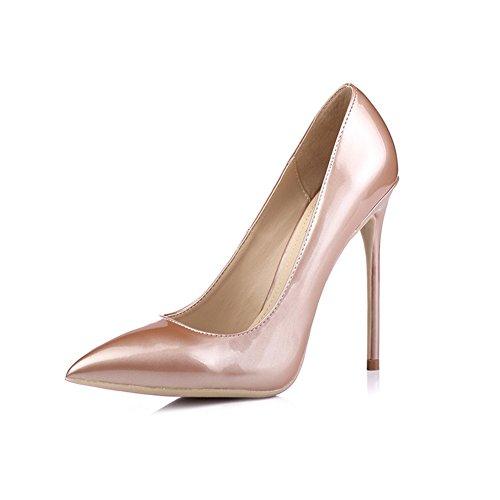 YIXINY Escarpin PN0212 Chaussures Femme PU+Caoutchouc Pointu La Bouche Peu Profonde Amende Talon 8,5cm/10cm /12cm Talons Hauts