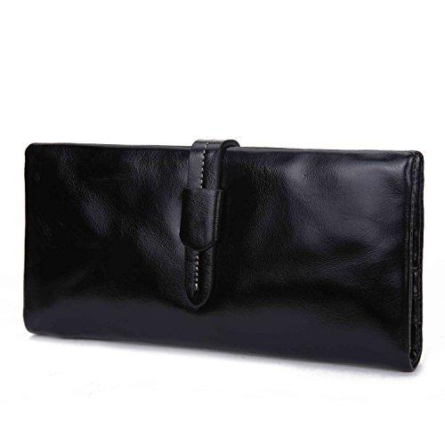 BAIGIO Portafoglio in Vera Pelle con Zipper Interno Portafoglio lungo da Donna Modello Elegante e Moderno Stile Casual e Business per Smartphone, (Nero)