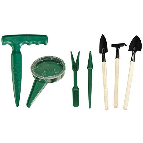 AmgateEu Mini-Gartenwerkzeug/Pflanzset- Sämann, Pistolengriff-Pikierstab, 3-teiliges Mini-Set Spaten, Rechen & Schaufel, Pflanzmaschine und Pikierholz
