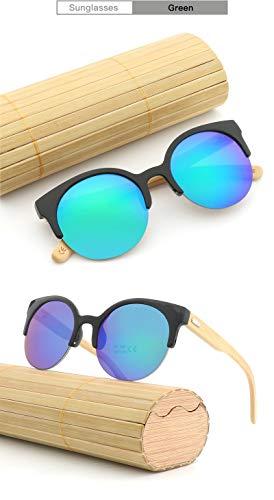 Handmake Katzenaugen aus Holz Holzbeine Sonnenbrillen Mode Halbrahmen Holzbeine Sonnenbrillen Brille (Color : Green)