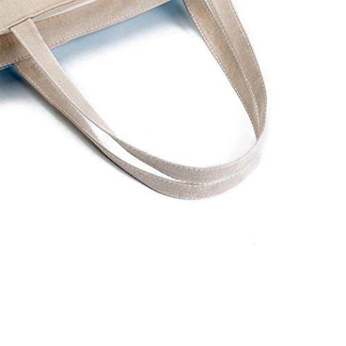 Longra Donna Sacchetto portatile casuale di stampa della tela di canapa A